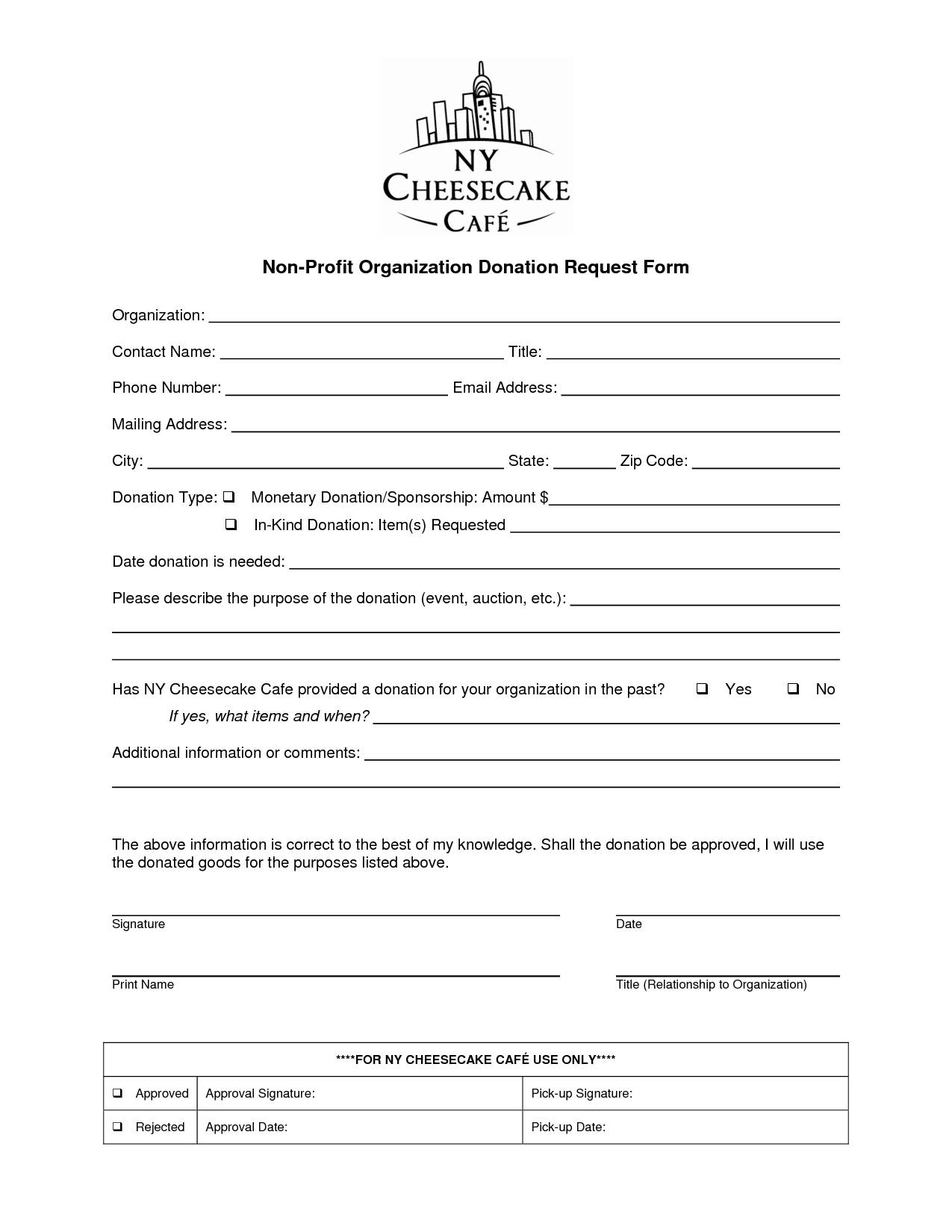 Non Profit Donation Request Form Template