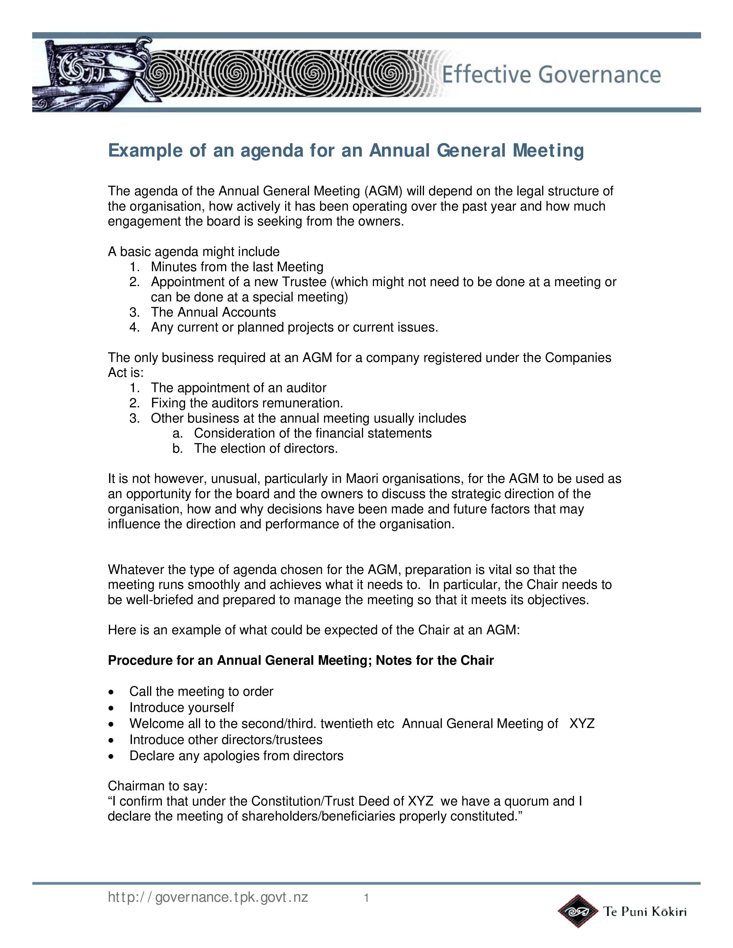 Non Profit Meeting Agenda Template