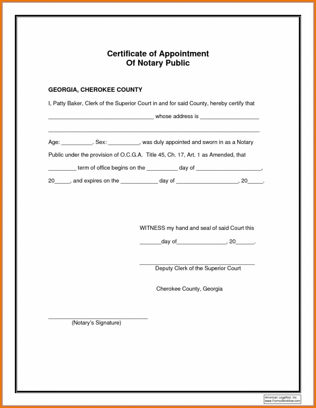Notary Form Template Nevada