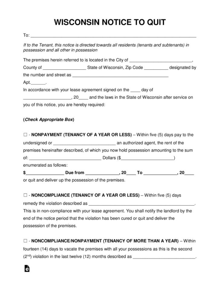 Notice Of Eviction Template Florida