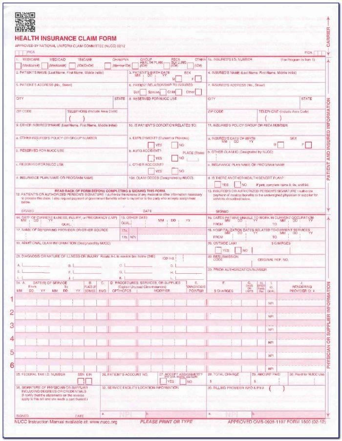 Nucc 1500 Claim Form Template