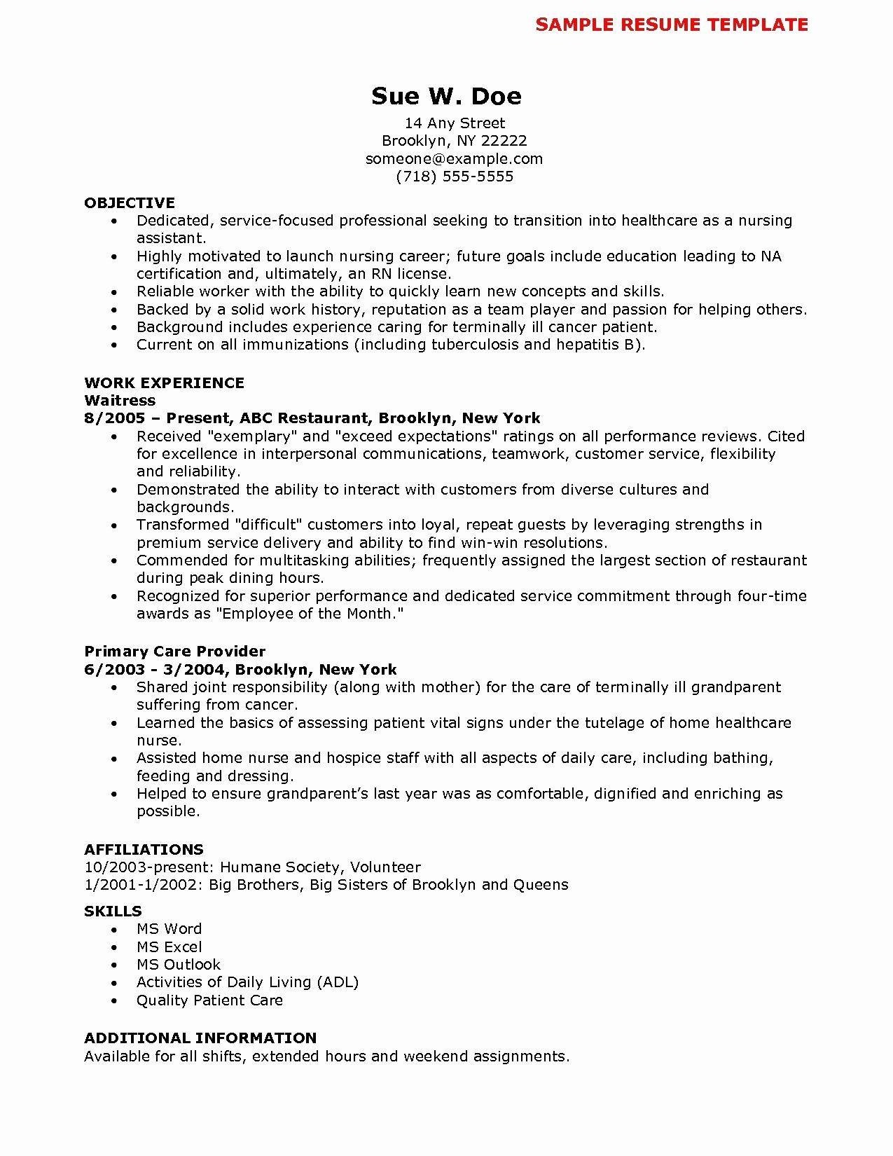 Nursing Cna Resume Template
