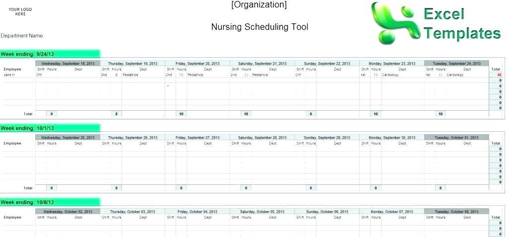 Nursing Staffing Schedule Template