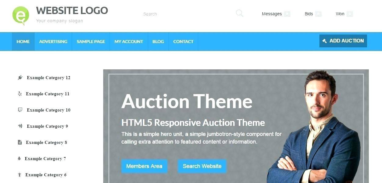 Online Auction Website Template Free