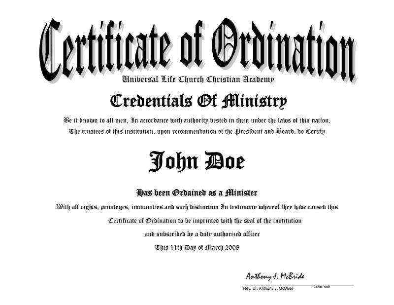 photograph regarding Free Printable Minister License Certificate referred to as Minister Ordination Certification Template - Templates