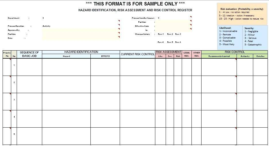 Osha Tb Risk Assessment Form