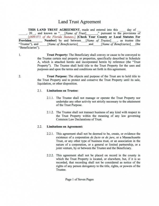 Owner Financing Contract Template Florida