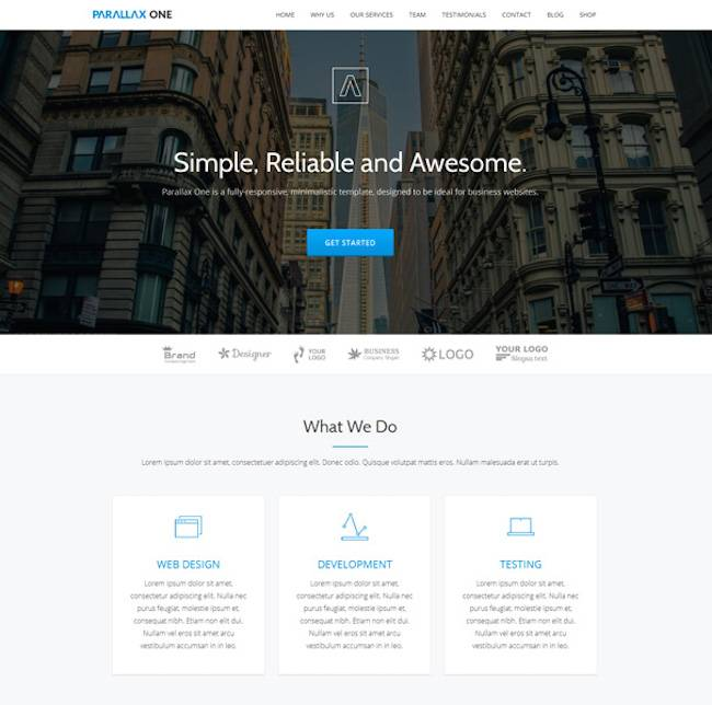 Parallax Website Template Free Wordpress