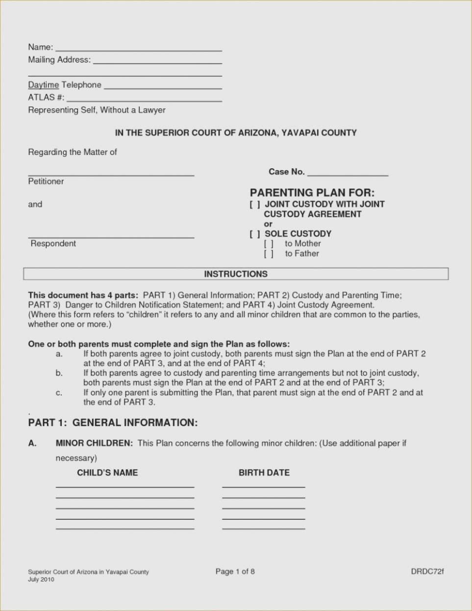 Parenting Agreement Forms