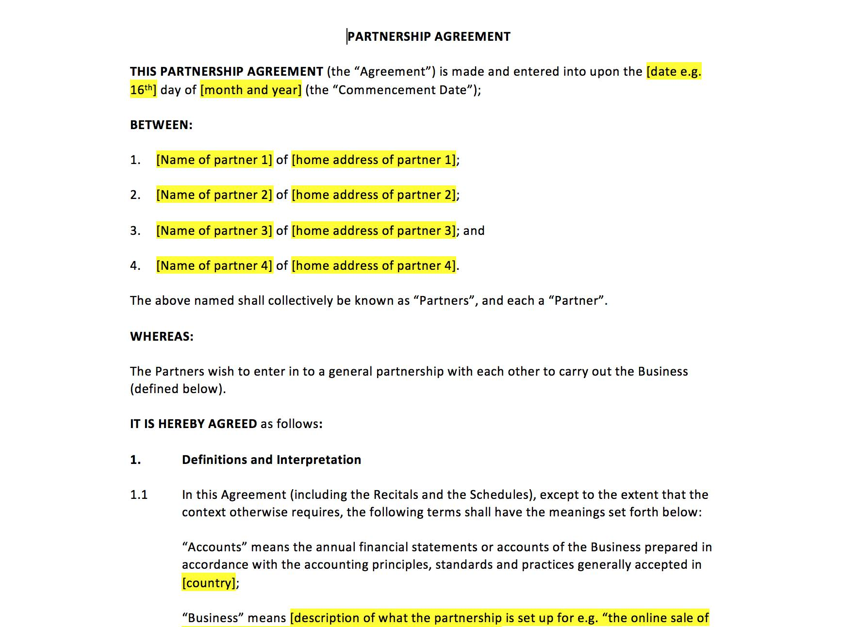 Startup Partnership Agreement Template Pdf Templates