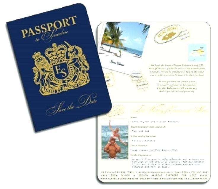 Passport Wedding Invitation Samples