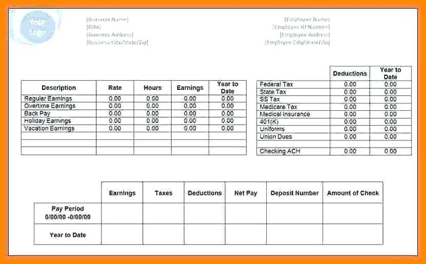 Pay Statement Template Ontario