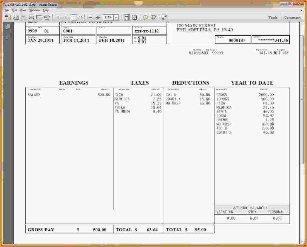 Pay Stub Template Word Canada