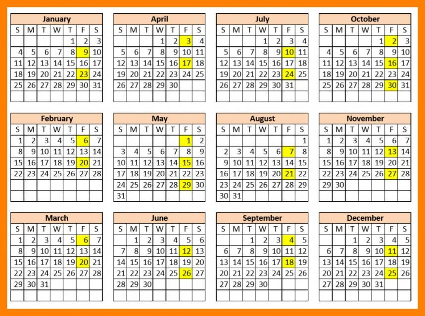 Payroll Calendar Format