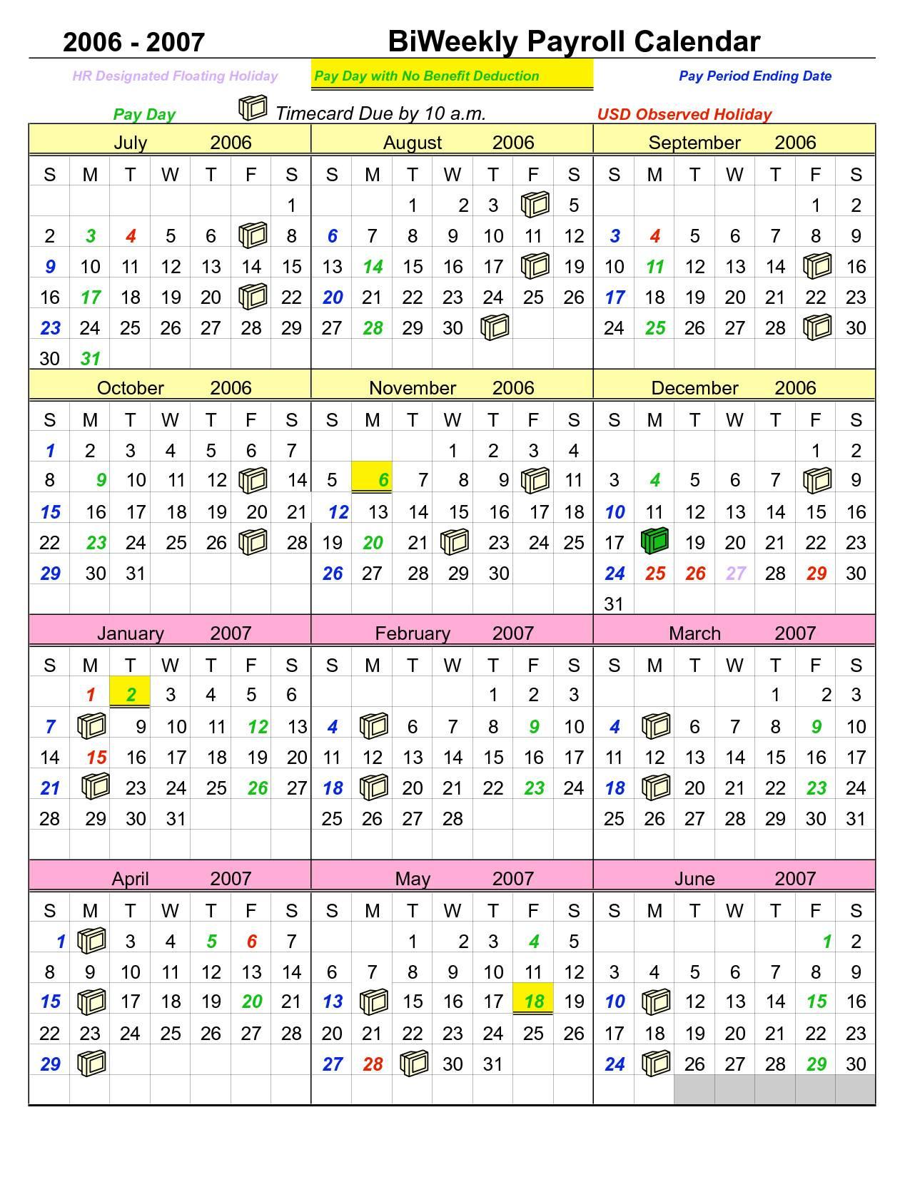 Payroll Calendar Template Free