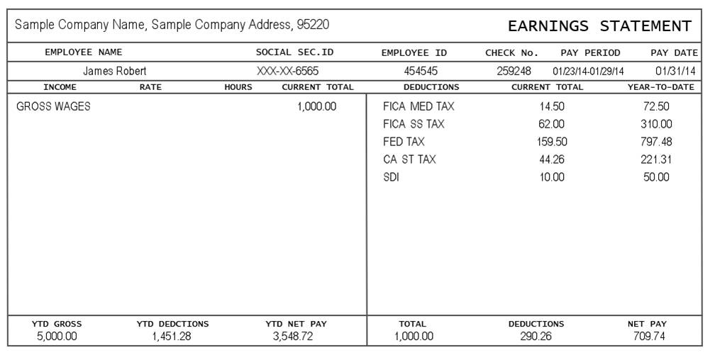 Payroll Check Stub Templates