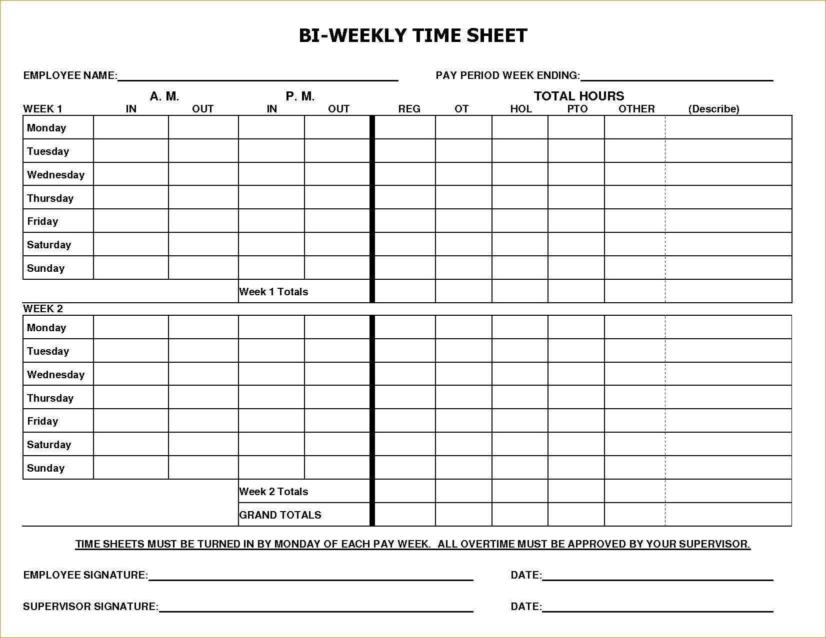Payroll Timesheet Template Excel