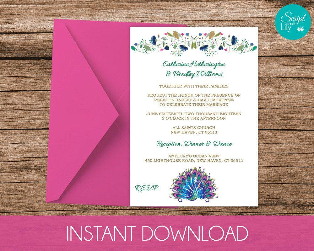 Peacock Invitation Template Download