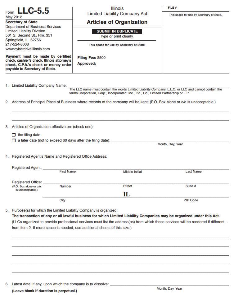 Pennsylvania Llc Articles Of Organization Form