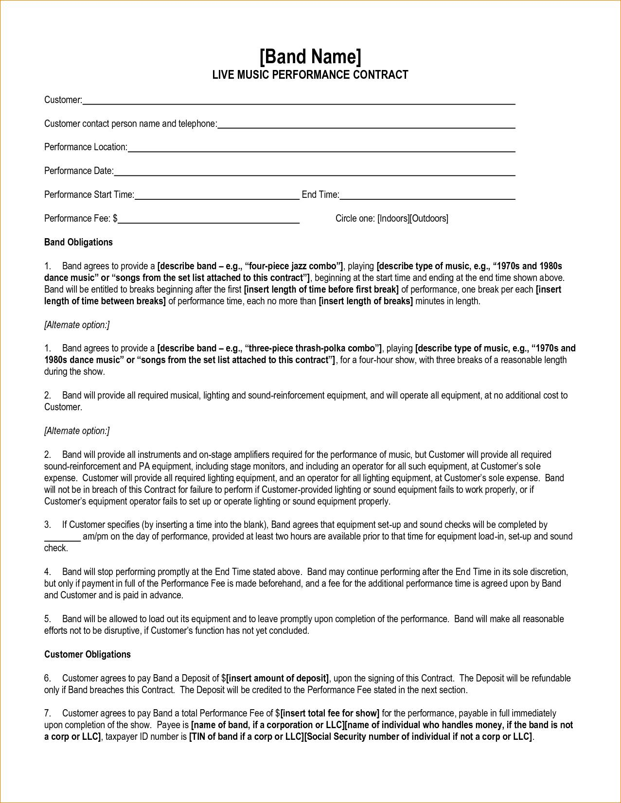 Performance Contract Template South Africa