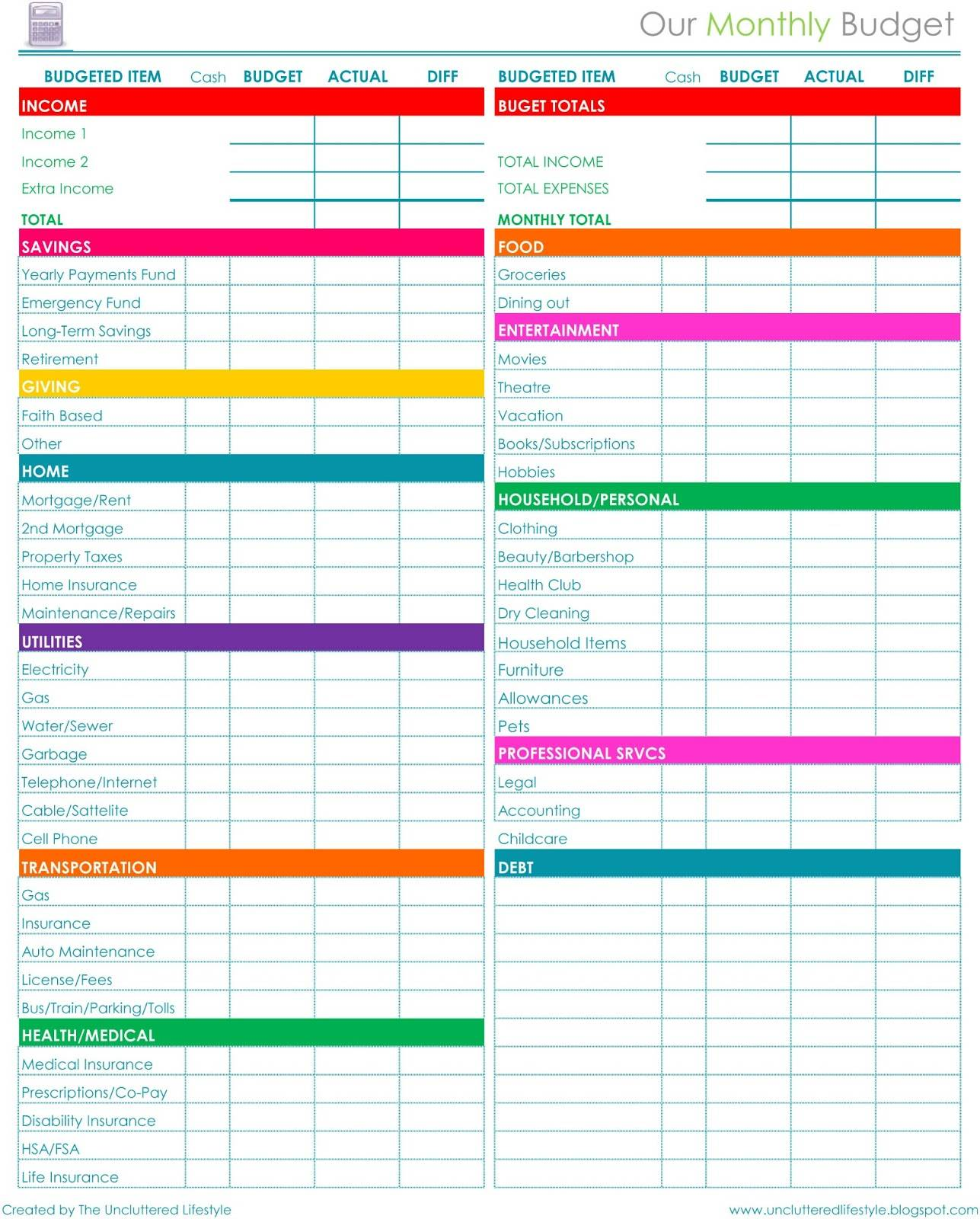 Personal Budget Sheet Templates