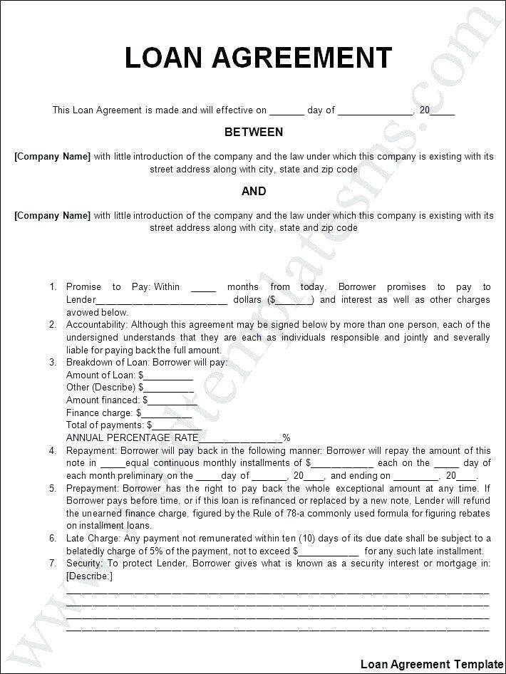 Personal Loan Agreement Word Template