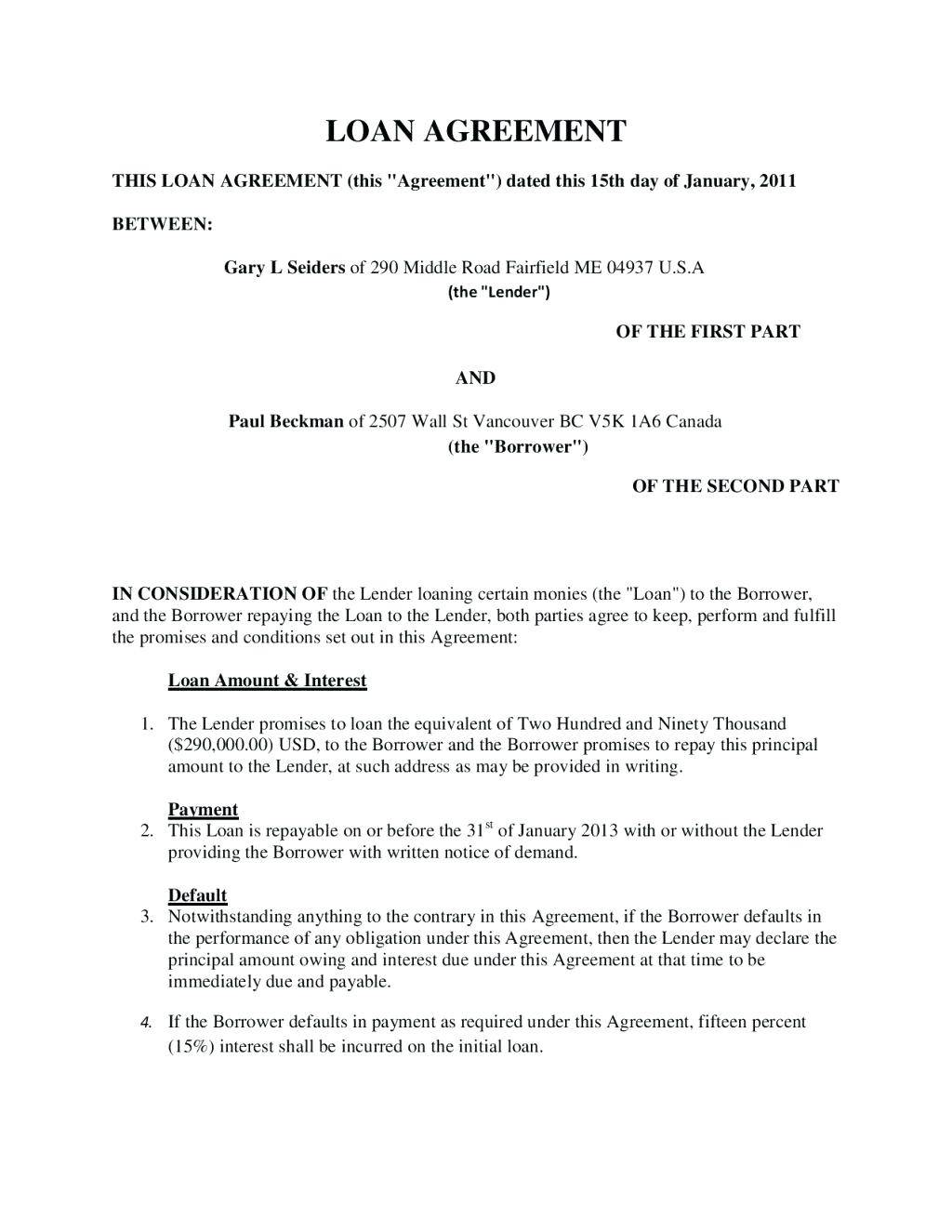 Personal Money Lending Contract Template