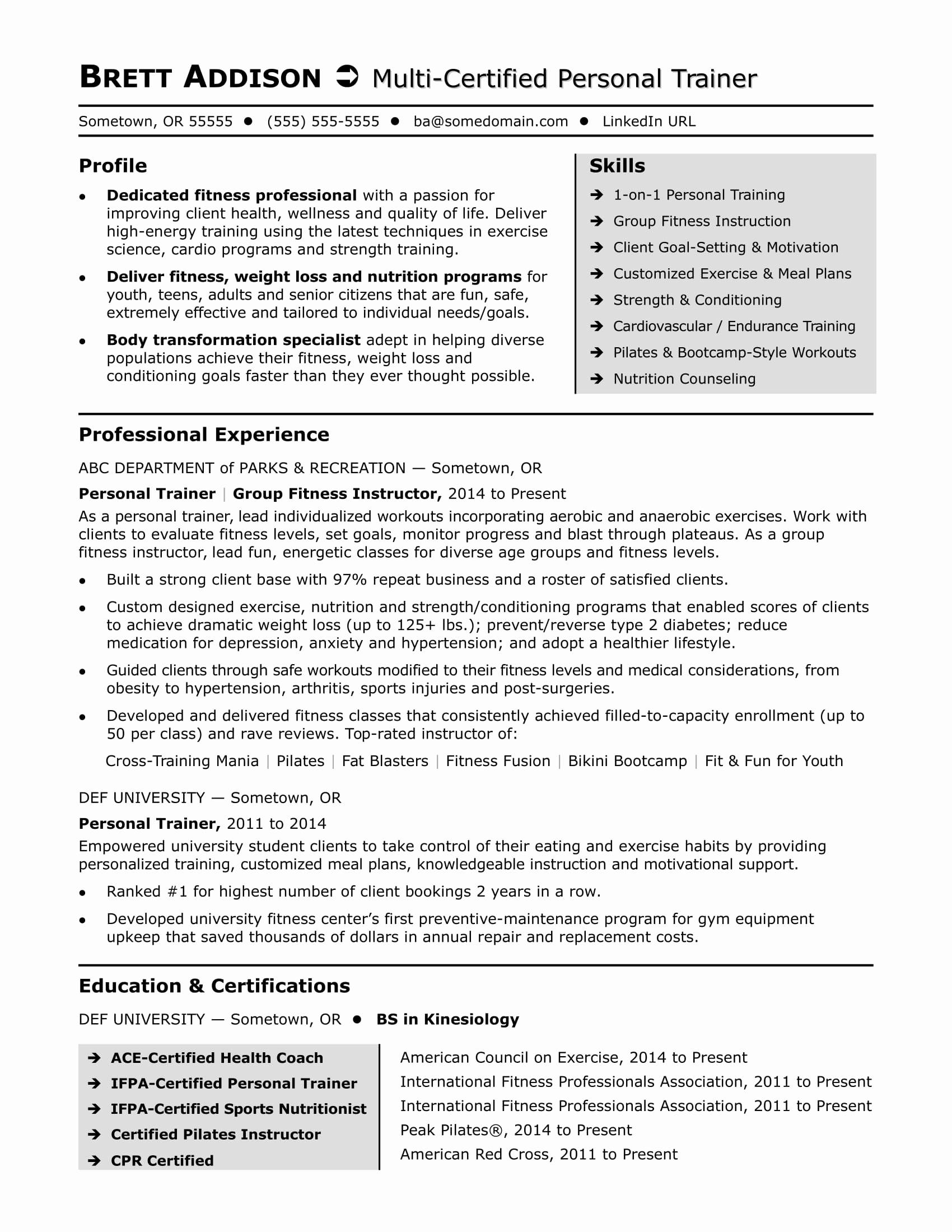 Personal Trainer Resume Template Word
