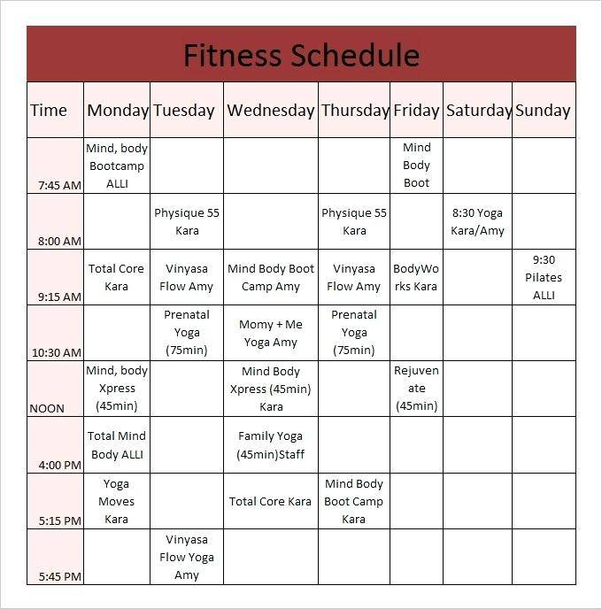 Personal Trainer Workout Schedule Template