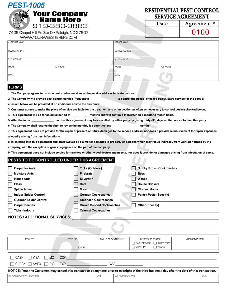 Pest Control Service Contract Forms