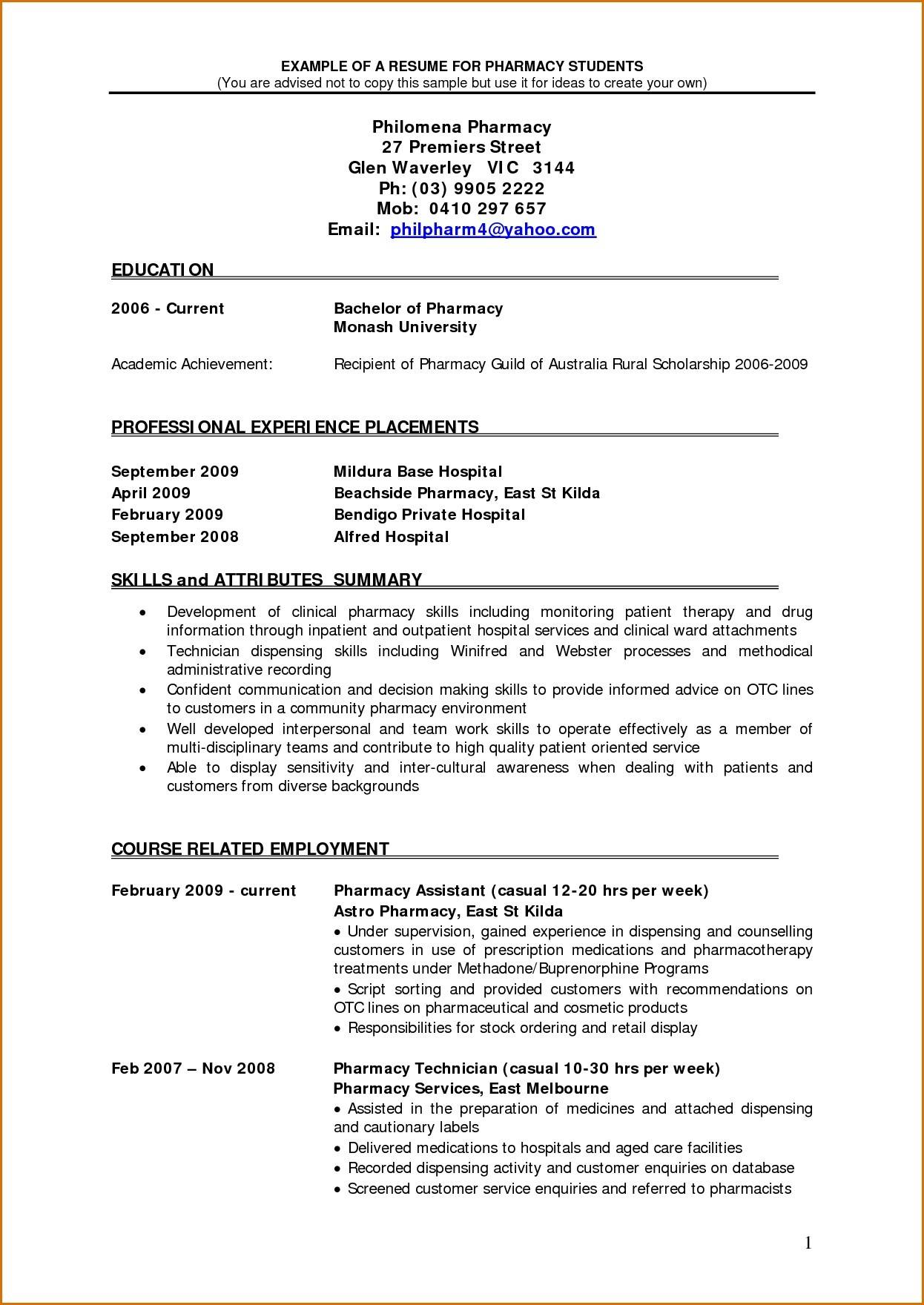 Pharmacy Cv Template