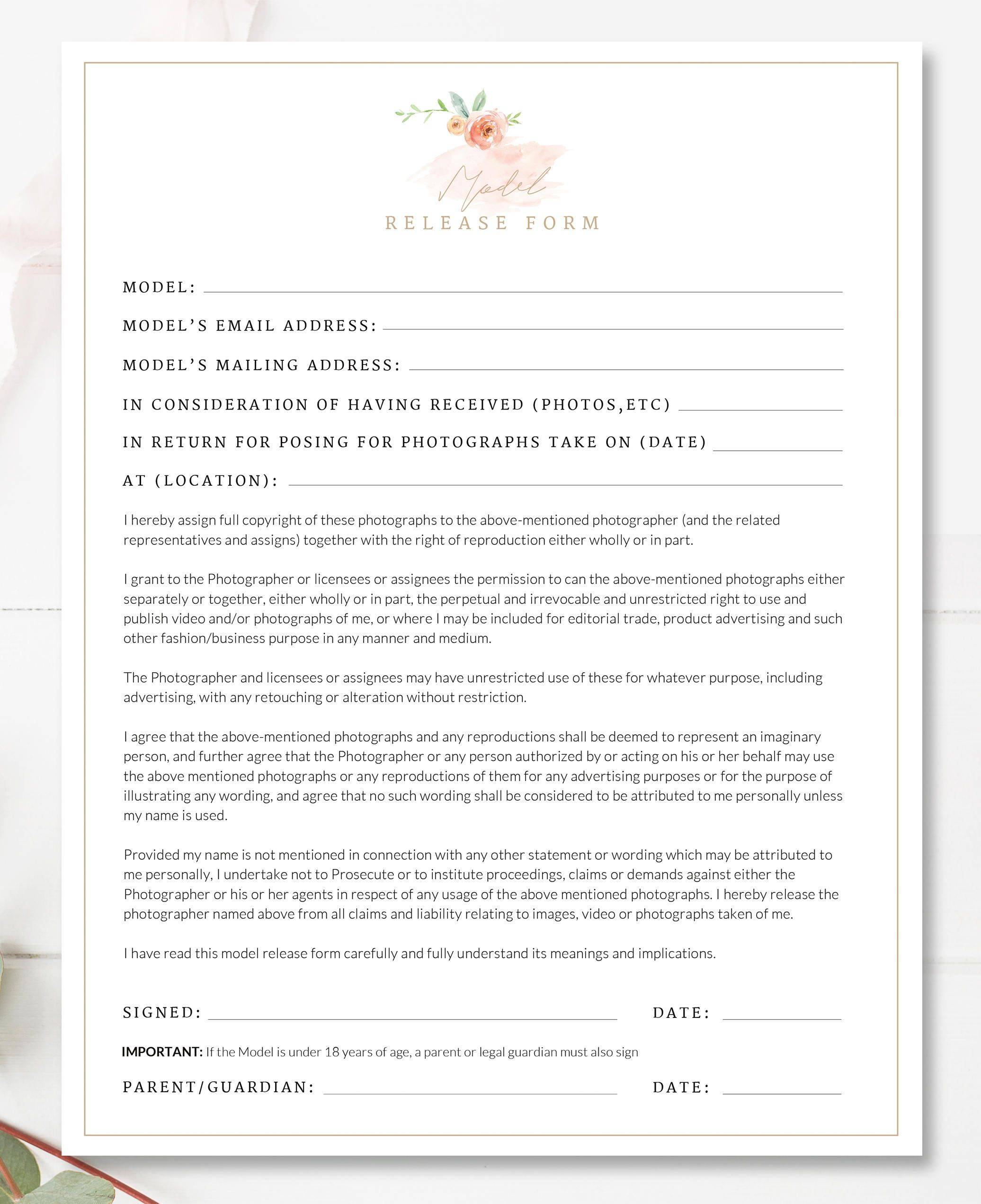 Photography Contract Printable