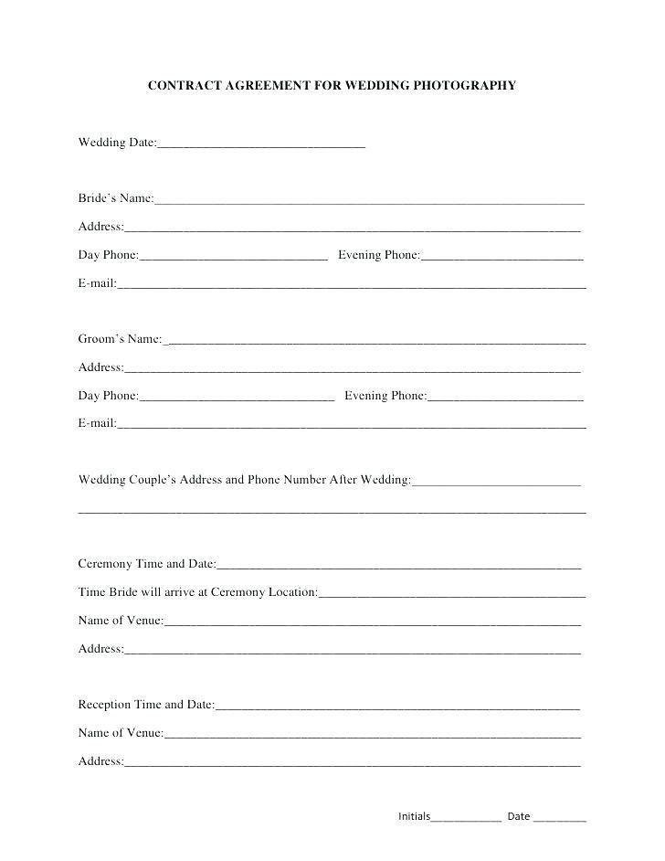 Photography Wedding Contract Template Free