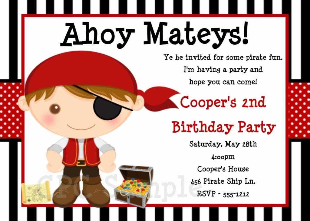 Pirate Birthday Invitation Templates Free