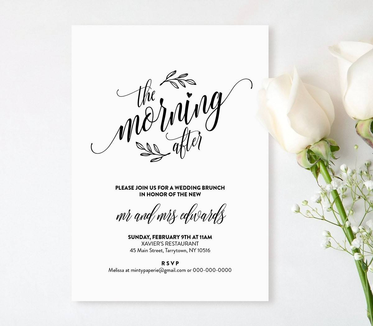 Post Wedding Brunch Invitation Template