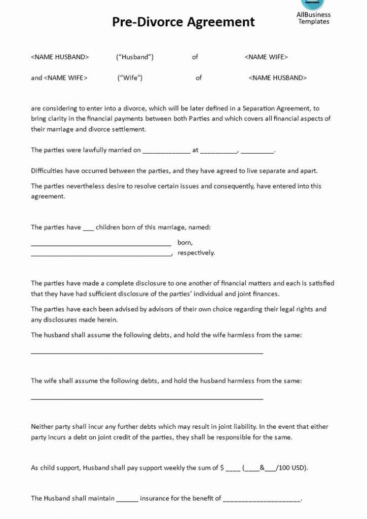 Postnuptial Agreement California Template
