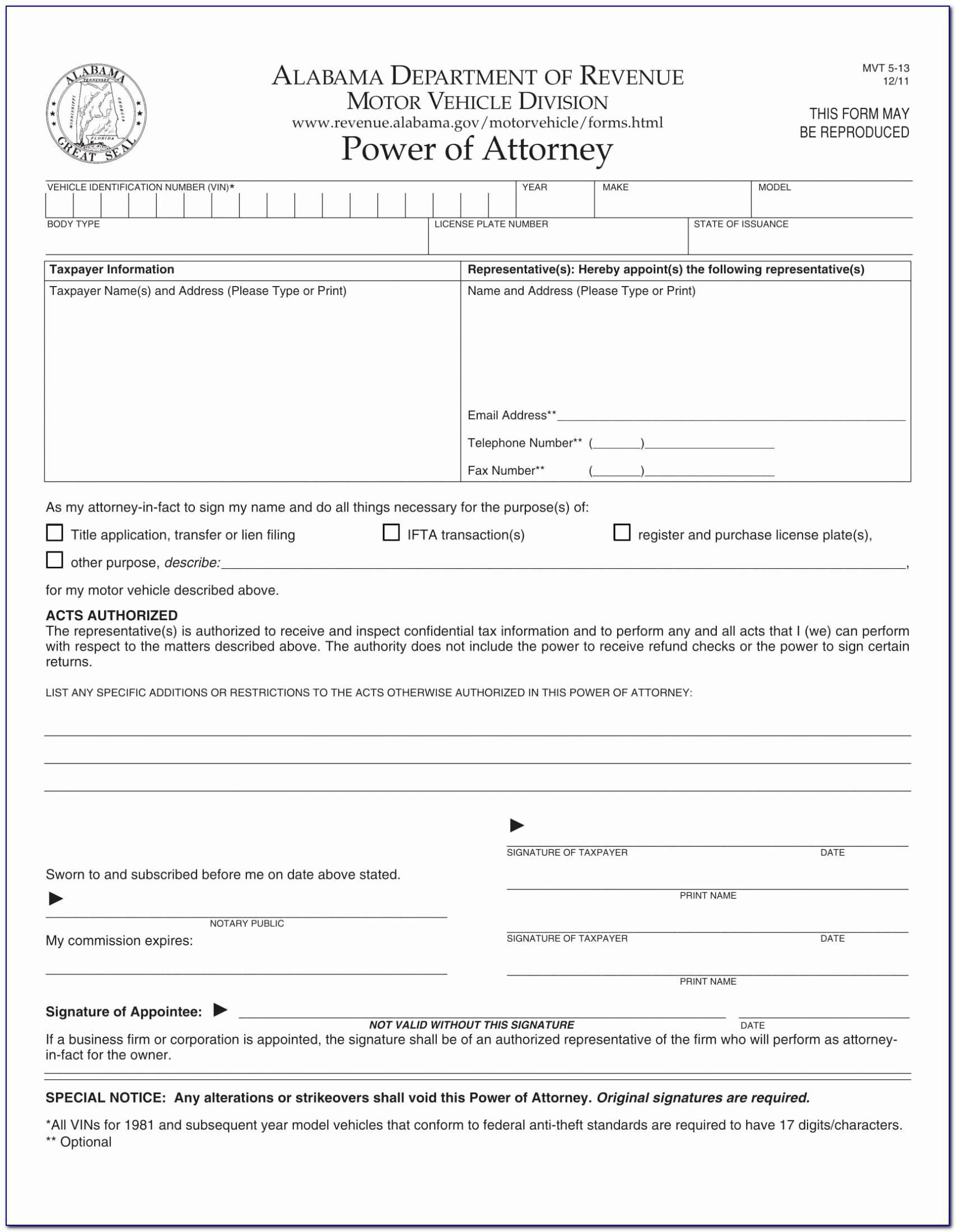 Power Attorney Form Florida Dmv