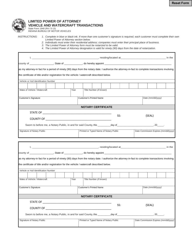 Power Attorney Form Indiana