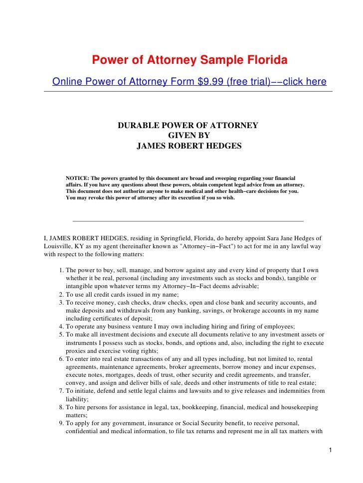 Power Of Attorney Doc Florida