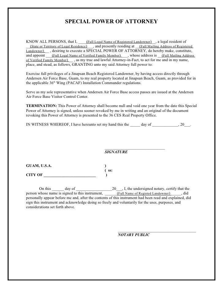 Power Of Attorney Form Word Template