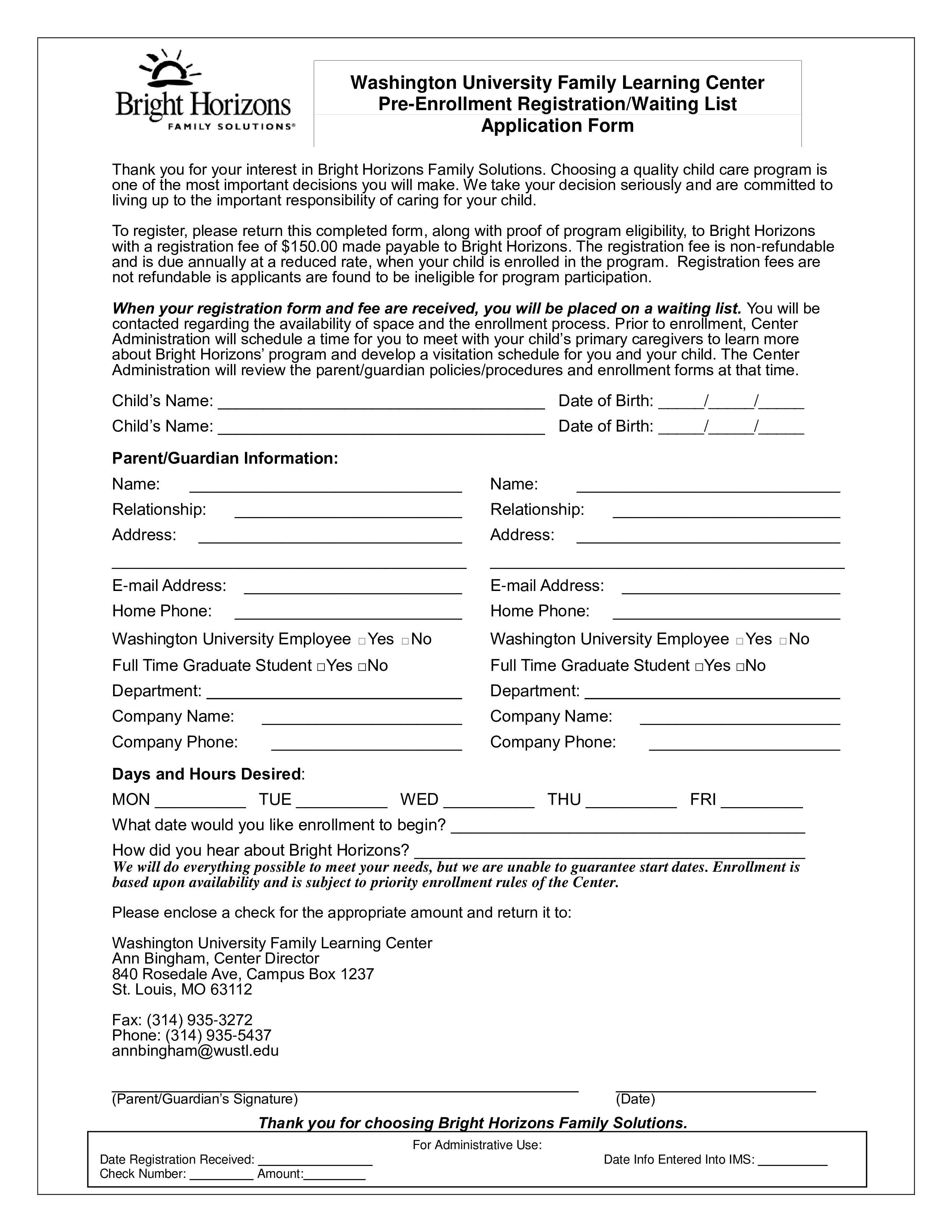 Pre Registration Form Template