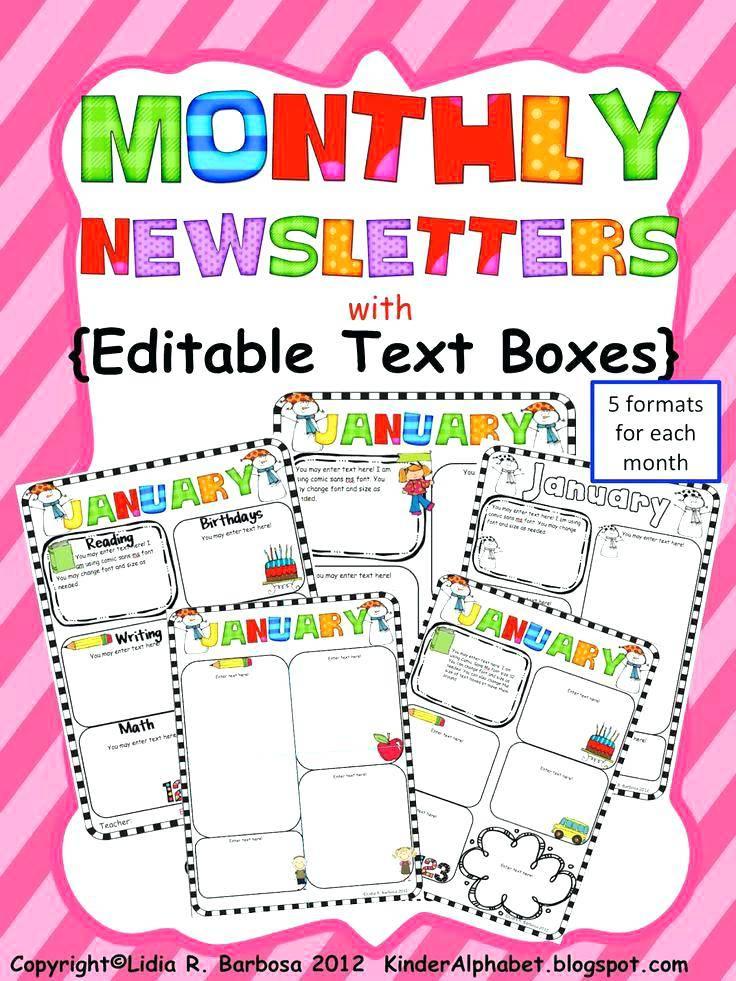 Preschool Monthly Newsletter Template Free