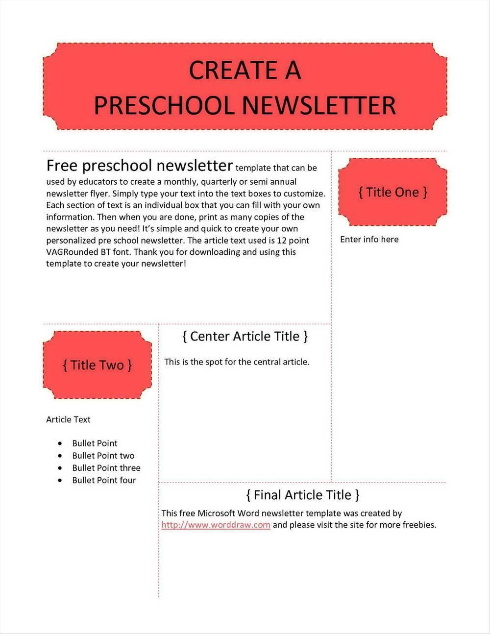 Preschool Newsletter Templates Word