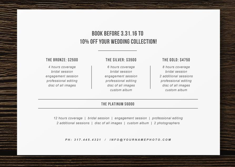 Price List Templates For Photographers