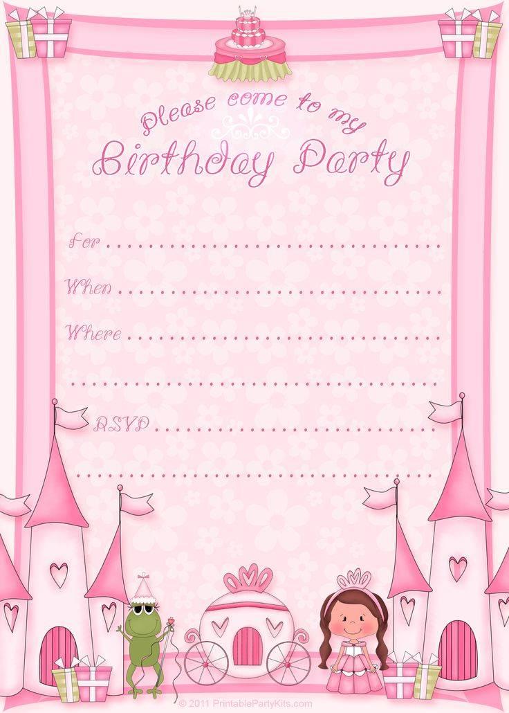 Princess Party Invitation Template Free