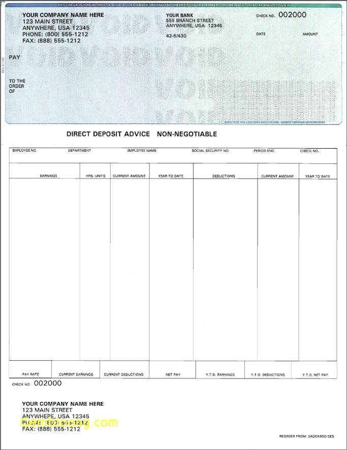 Printable Check Stub Templates