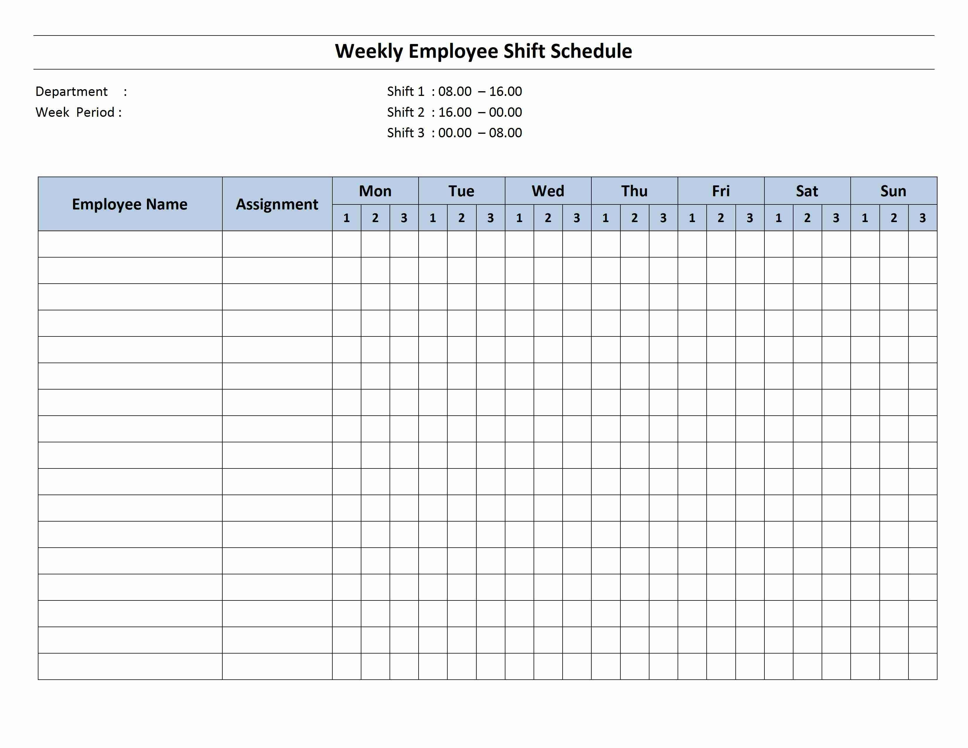 Printable Monthly Work Schedule Template
