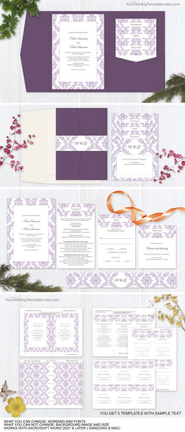 Printable Pocket Invitation Templates