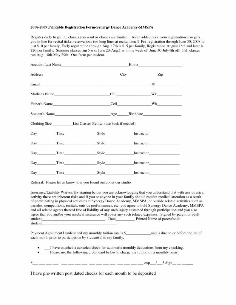 Printable Sports Registration Form Template