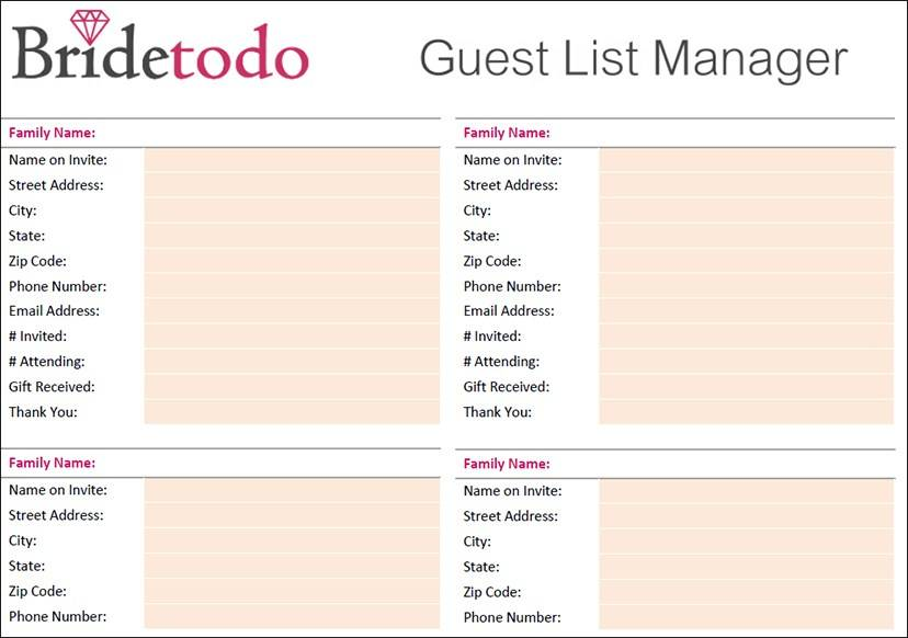 Printable Wedding Guest List Template Pdf